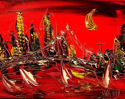 Water Sports Poster Painting - Red City by Mark Kazav