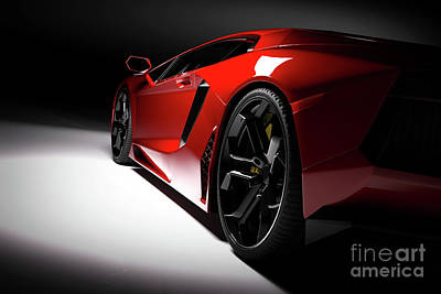 Photograph - Red Fast Sports Car In Spotlight, Black Background. Shiny, New, Luxurious. by Michal Bednarek