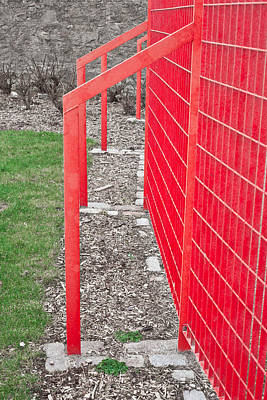 Red Fence Art Print by Tom Gowanlock