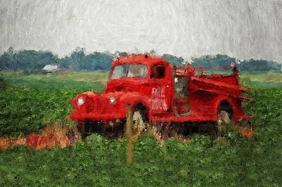 Painting - Red Fire Truck by Michael Thomas