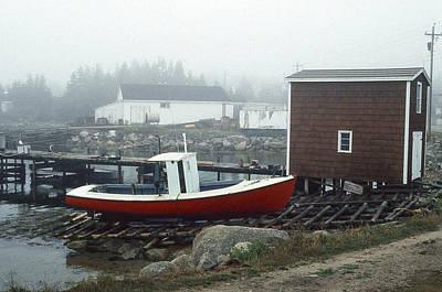 Red Fishing Boat In Fog Nova Scotia Art Print by Richard Singleton