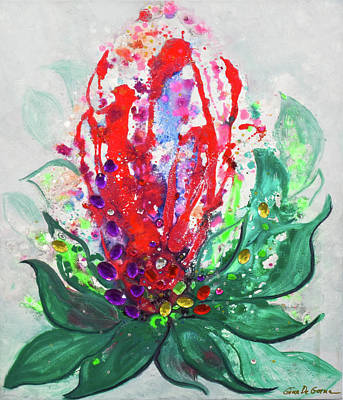 Painting - Red Flower by Gina De Gorna