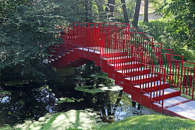 Photograph - Red Footbridge Dow Gardens by Mary Bedy