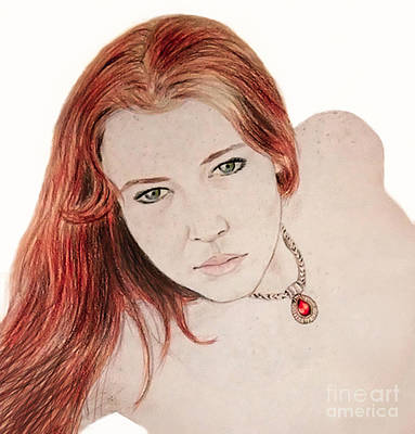 Red Hair And Freckled Beauty Art Print by Jim Fitzpatrick