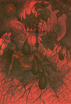 Creativity Drawing - Red Hell  by Wojtek Kowalski