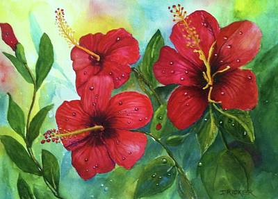 Painting - Red Hibiscus by Jane Ricker