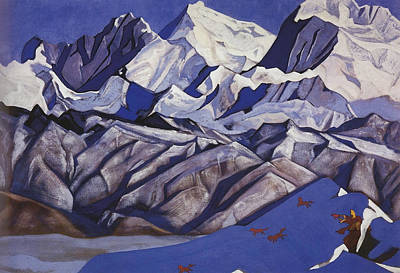 Snow Painting - Red Horses by Nicholas Roerich