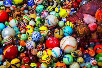 Pour Photograph - Red Jar With Marbles by Garry Gay