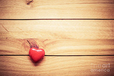Creative Photograph - Red Little Heart On Wood by Michal Bednarek