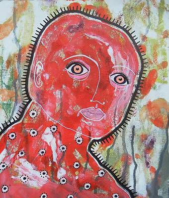 Primitive Raw Art Painting - Red Man by Bea Roberts