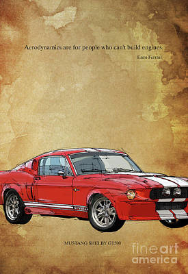 Red Mustang Gt500, Ayrton Senna Inspirational Quote Handmade Drawing Vintage Background Art Print