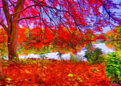 Digital Art - Red Of November by Lilia D