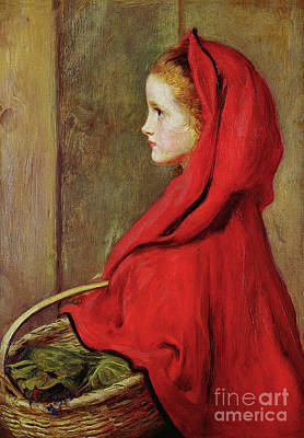 Little Red Riding Hood Painting - Red Riding Hood by John Everett Millais