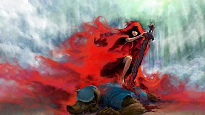 Red Digital Art - Red Riding Hood by Maye Loeser
