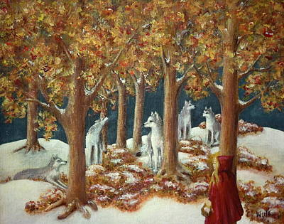 Painting - Red Ridinghood Comes Home by Bernadette Wulf
