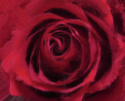 Digital Art - Red Rose by Gillian Dernie