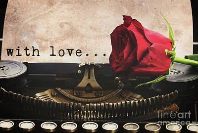 Red Rose On Typewriter Art Print by Anastasy Yarmolovich