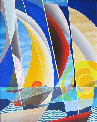 Painting - Red Sail In The Sunset by Douglas Pike