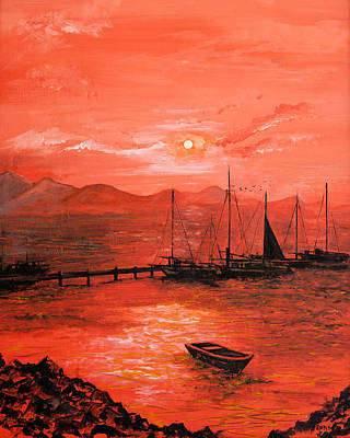 Seascape Wall Art - Painting - Red Sea Sunset by Jane Woodward