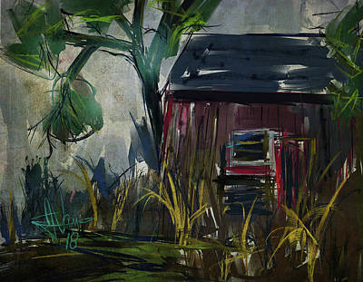 Digital Art - Red Shed by Jim Vance