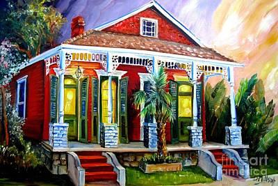 New Orleans Shotgun Houses Painting - Red Shotgun House by Diane Millsap