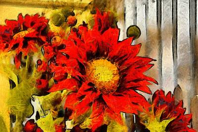 Red Sunflower Painting Art Print by Floyd Snyder