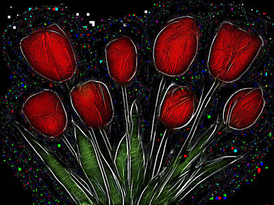 The Beauty Of Nature Mixed Media - Red Tulips 2 by Alexey Bazhan