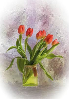 Mixed Media - Red Tulips by Mary Timman