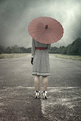 From Behind Photograph - Red Umbrella by Joana Kruse
