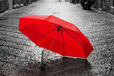 Umbrella Photograph - Red Umbrella On Cobblestone Street In The Old Town by Michal Bednarek