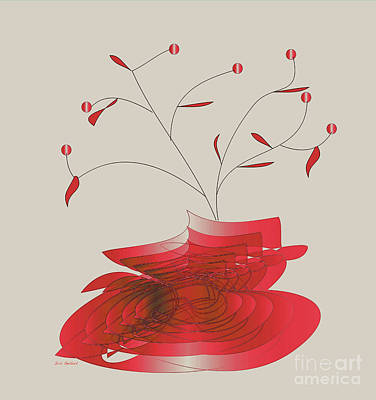 Digital Art - Red Vase by Iris Gelbart