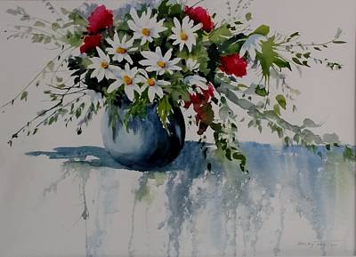 Painting - Red White And Blue Bouquet by Becky Taylor