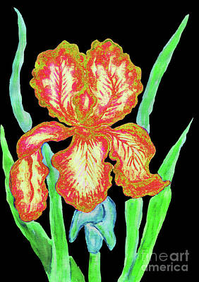 Painting - Red-yellow Iris, Painting by Irina Afonskaya