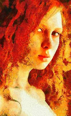 Digital Art - Redhead by Gun Legler