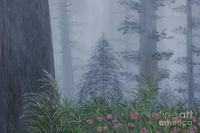 Giant Sequoia Painting - Redwoods In Fog by William Ohanlan
