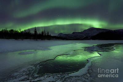 Reflected Aurora Over A Frozen Laksa Art Print by Arild Heitmann