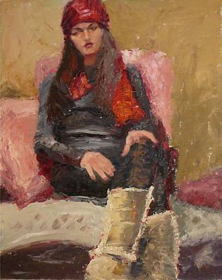 Painting - Reflecting In Red Scarf by Irena Jablonski