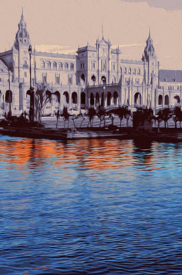 Painting - Reflections Of Seville, Plaza De Espana by Andrea Mazzocchetti