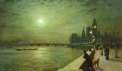 Moonlight Painting - Reflections On The Thames, Westminster by John Atkinson Grimshaw
