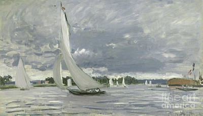 Seascape Oil Painting - Regatta At Argenteuil by Claude Monet