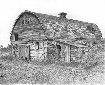 Old Barn Drawing - Reid Barn by Dean Herbert