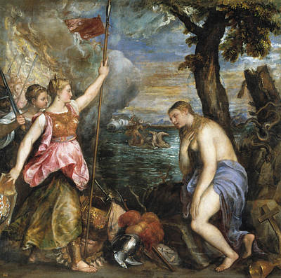 Moral Painting - Religion Succoured By Spain by Titian
