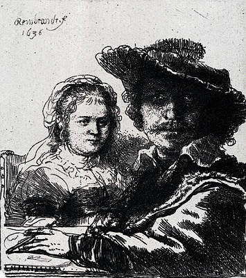 Saskia Digital Art - Rembrandt Self Portrait With Saskia  by PixBreak Art