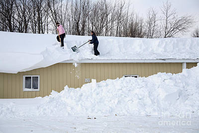 Snow Removal Photograph - Removing Snow From A Building by Ted Kinsman