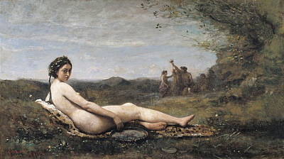 Plump Women Wall Art - Painting - Repose by Camille Corot