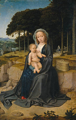 Child Jesus Painting - Rest On The Flight From Egypt by Gerard David
