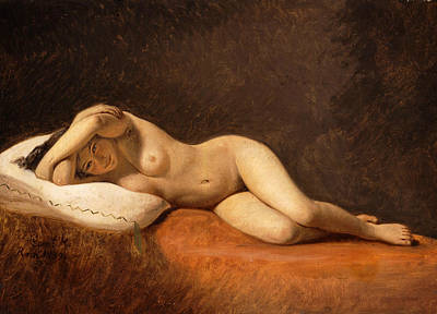 Painting - Resting Model by Constantin Hansen