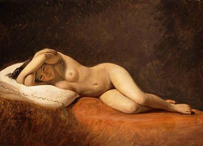 Resting Model Art Print by Constantin Hansen