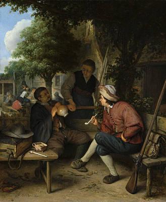 Outdoor Still Life Painting - Resting Travellers by Adriaen van Ostade