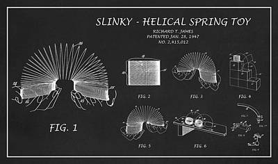Digital Art - Restored Patent Drawing For The Richard T. James Slinky Helical Spring Toy by Jose Elias - Sofia Pereira